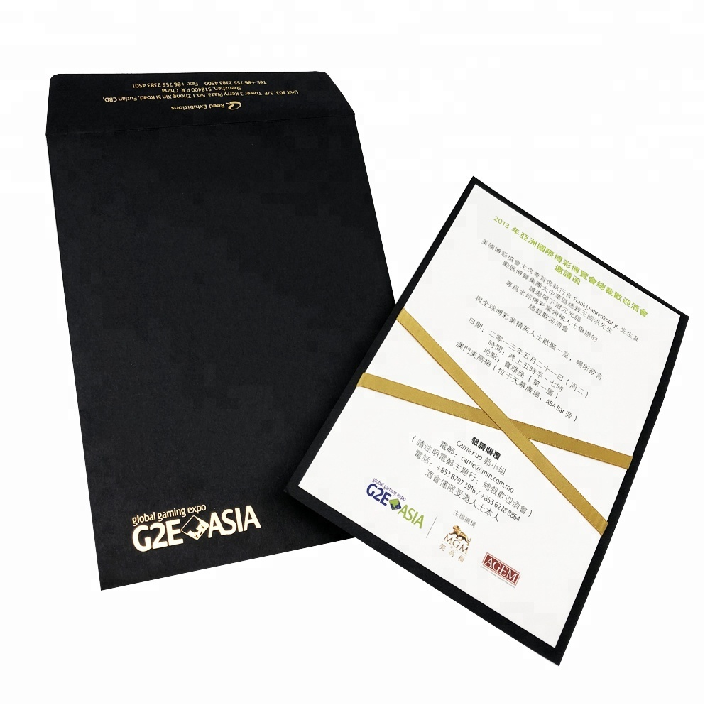 Luxury Invitation Card Custom Printing For Exhibition Opening Ceremony With Black Envelope Printing In Shanghai Buy Invitation Printing Custom