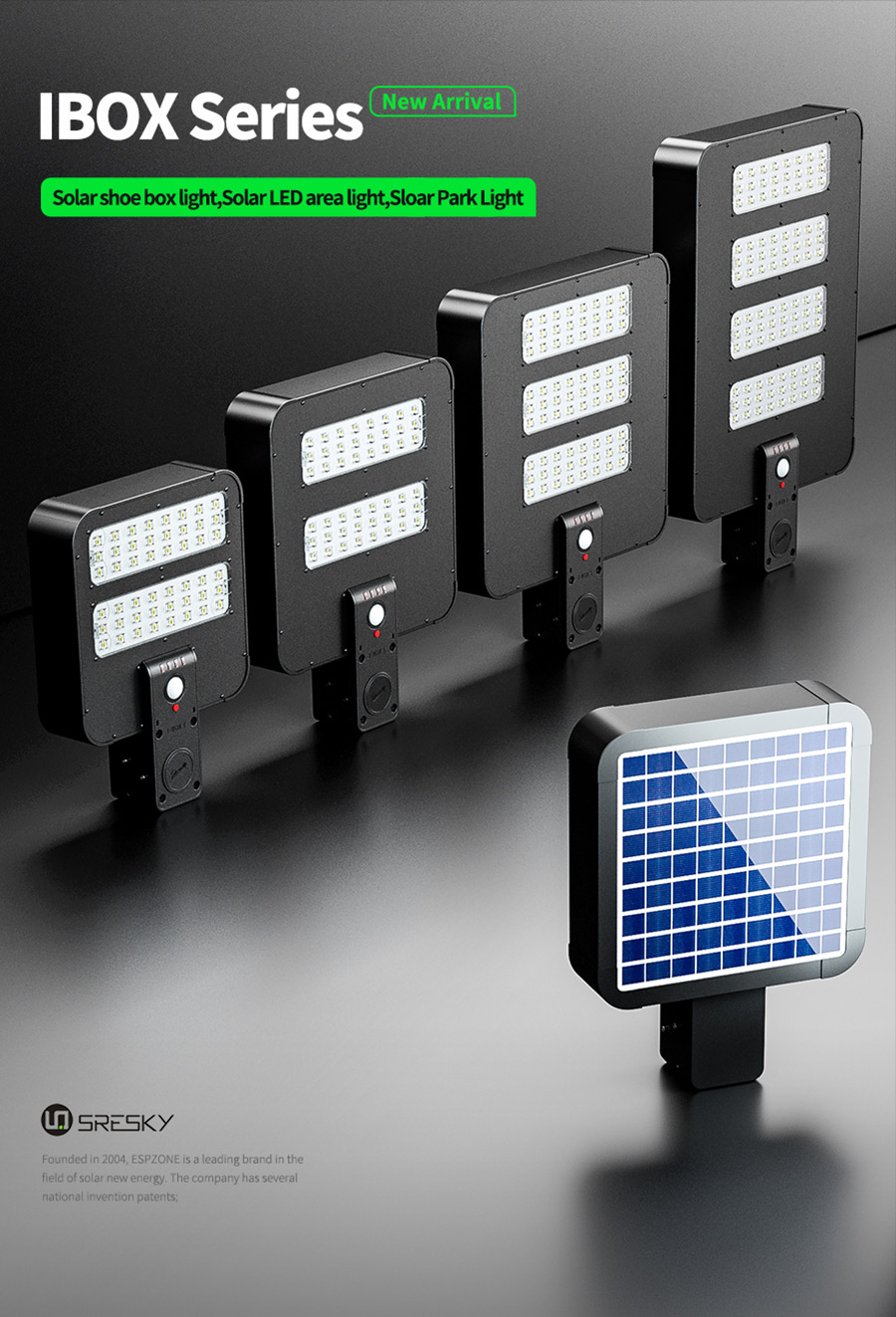 sresky new product IBOX series led area lighting solar shoe box light with patent design