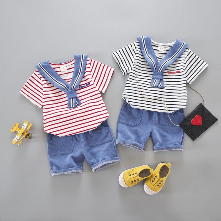Summer 2018 foreign trade children's wear boys and girls sailor clothes infant two pieces of suit one piece wholesale