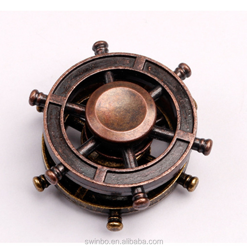 2017 New Hand Spinners Retro Helmsman Spinner Gyro Fidget Spinner Stress Cube Brass Focus Keep Toy and ADHD EDC Anti Stress Toys