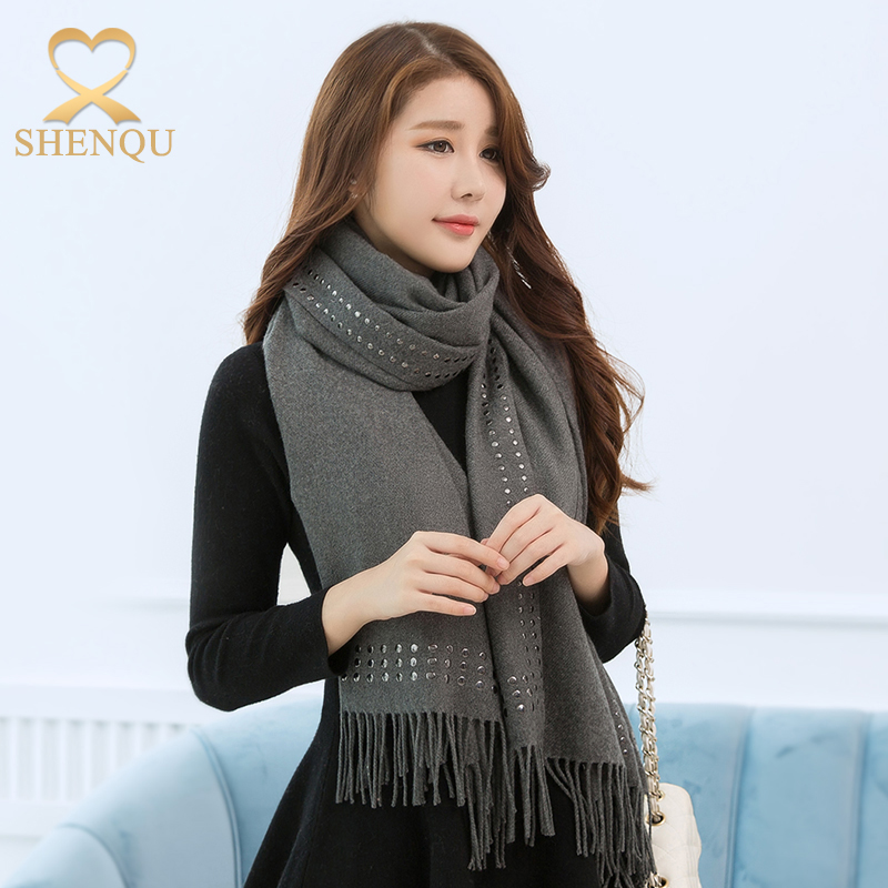 2017 latest fashion poncho design imitated cashmere pashmina winter scarf shawl plain color beaded shawl pashmina scarf