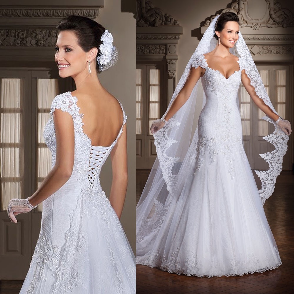 Simple Long A Line Cap Sleeve Train Lace Wedding Dresses: Aliexpress.com : Buy White Cap Sleeve Lace Wedding Dress