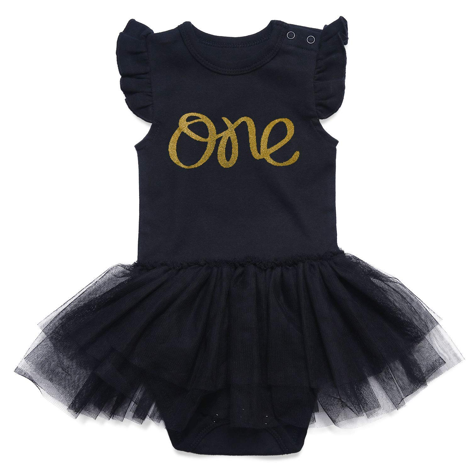 d93c92280bb Get Quotations · SOBOWO Baby Girls My Little Black Tutu Dress Bodysuit 0-24M