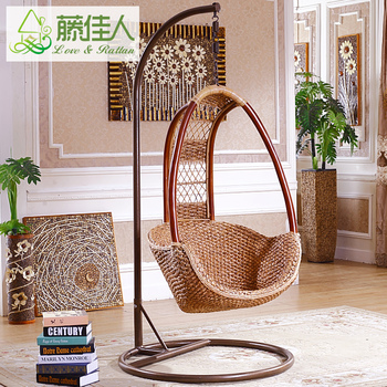 Indoor Natural Rattan Cane Wooden Hanging Pod Chair Swing