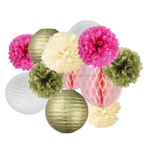 Paper Lanterns Tissue Paper Pom Poms Wedding Decor Party Supplies Hanging Large Balls Paper Flowers