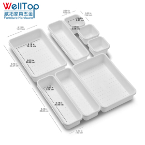 Value 8-Piece Interlocking Bin Pack - White Customizable Multi-Purpose Storage plastic cutlery tray VT-08.019
