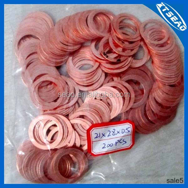 Copper Seal Gasket Ring Crush Washer 21*28*0.5mm Copper
