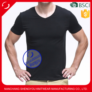 Custom wholesale sublimation 94 cotton 6 spandex mens v-neck fitness t shirts manufacturers china