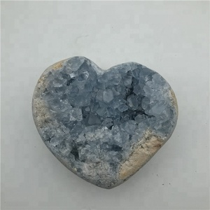 Natural Healing Energy Blue Celestite Geode Heart Shaped Crystal Rocks