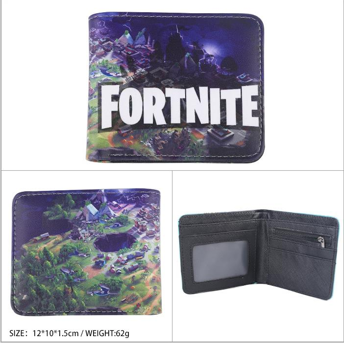 New Design Small Fortnite Purse Wallet Fashion PU Fortnite Anime Short Wallet Men