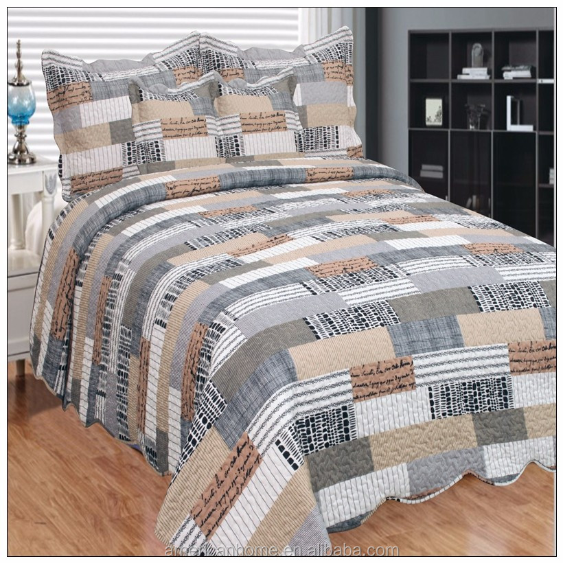 Cheap cotton printed grey patchwork handmade quilt throws for sale