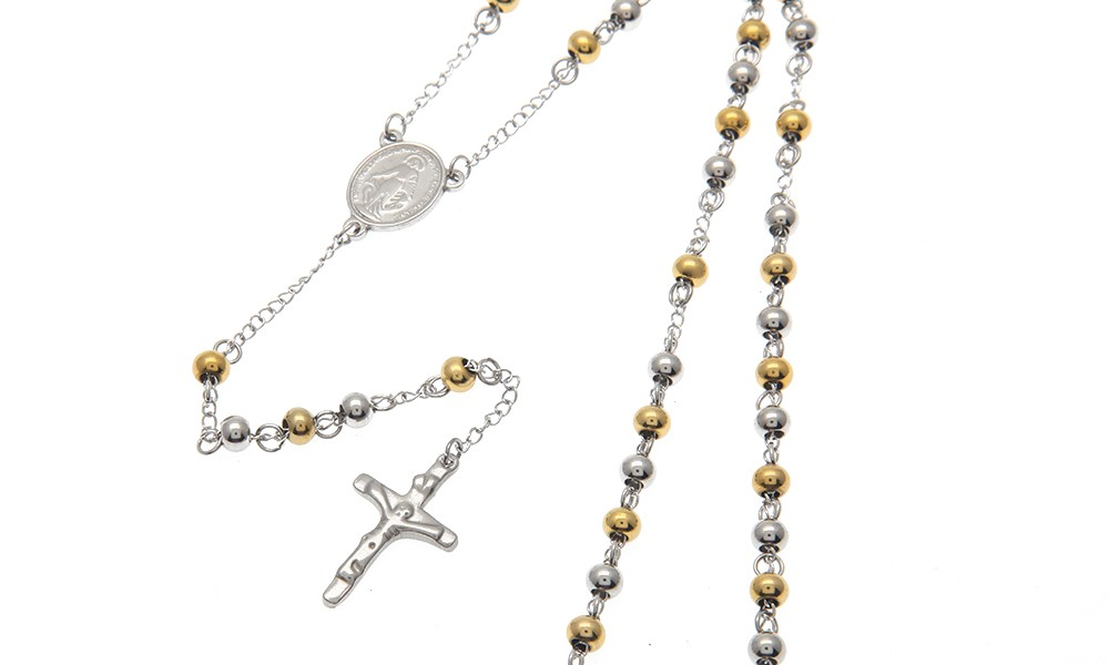 de8eb8b8433d6 Religious Stainless Steel Gold Silver Plated Catholic Rosary Beads Chain  Necklace Men Jesus Christ Cross Pendant Rosary Necklace