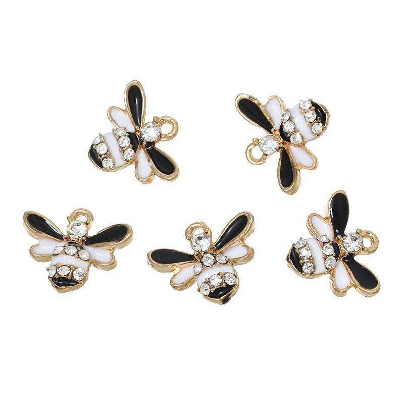 "Charm Pendants Bees Gold Plated Black & White Clear Rhinestone Enamel 17.0mm( 5/8"") x 14.0mm( 4/8""), 10 PCs"