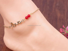 Gold Tone Red Lucky Beads Love Letter Ankle Chain Sexy Foot Chain Anklets