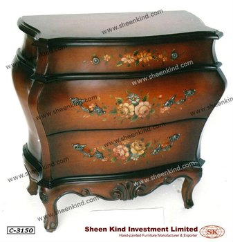 French Style Wooden Bombe Chest / Bombay Cabinet
