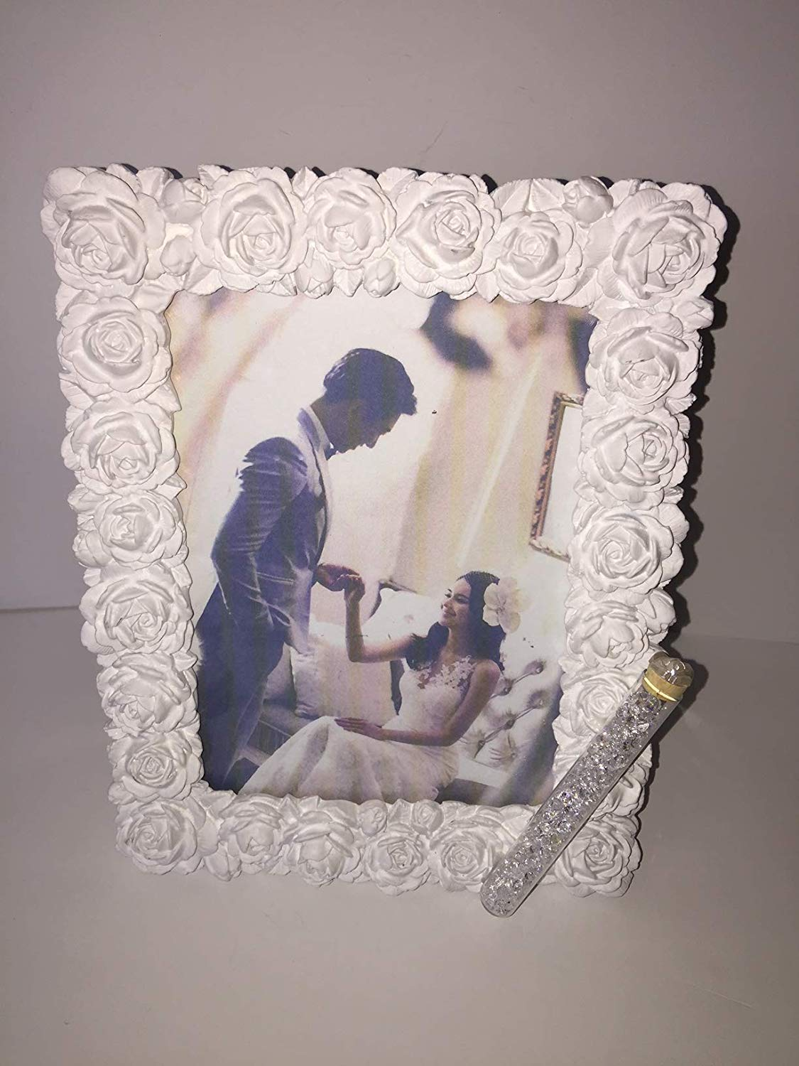 Jewish Wedding White Roses Photo Picture Frame With a Container for Broken Wedding Glass, 5 x 7 Picture Bridal Shower Or Wedding Gift