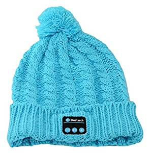 BearsFire Wireless Bluetooth Music Hat Knitted Winter Hat Magic Hat Headphone Headset Earphones MP3 Speaker Music Player Hands-free Hat Women/Men Winter and Spring Warm Hats Beanie Hat (Blue)