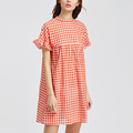high neck ruffle sleeve plaid cotton orange dress