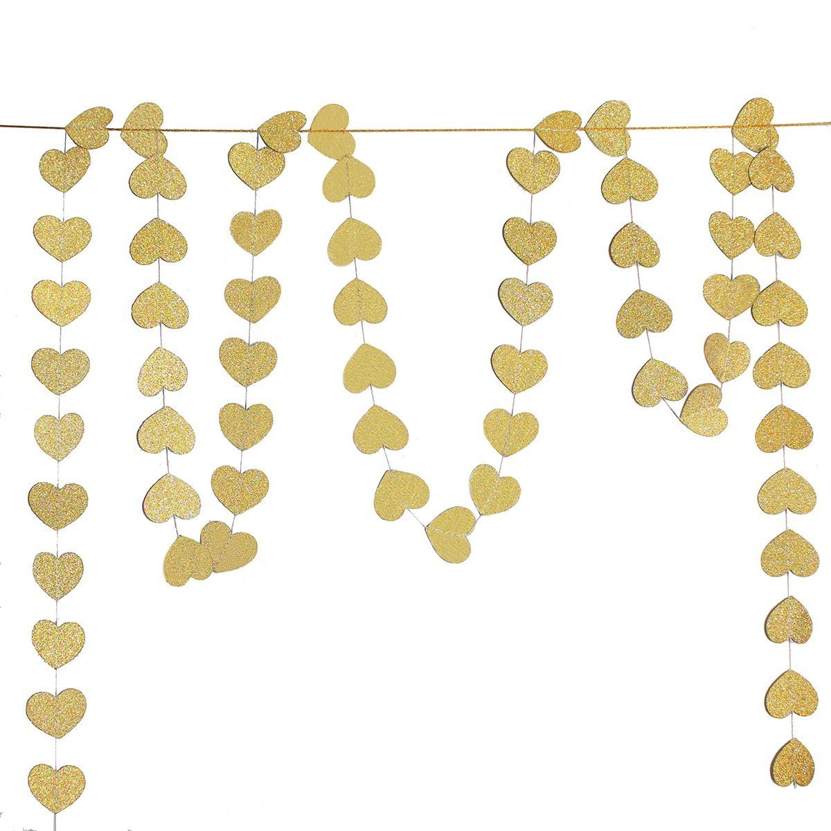 Koker Glitter Paper Heart Garland Banner, Heart-shaped Hanging String Decoration for Weddings or Party Backdrop, Baby Shower, Glitter Gold, 13 Feet/4 m