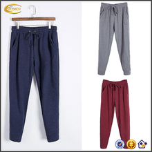 Ecoach <span class=keywords><strong>donne</strong></span> cotone Coulisse In Vita Larga Fit Colore Puro allentato <span class=keywords><strong>Pantaloni</strong></span> Casual per la femmina