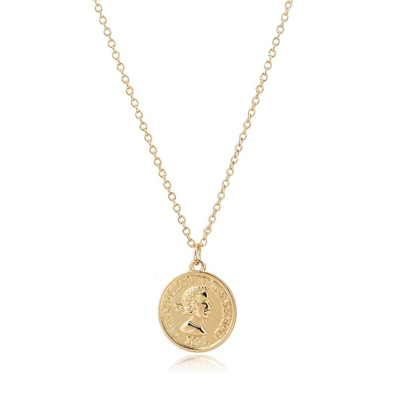 bcbde2b02478 2019 diseño elegante encanto de cara logotipo moneda colgante Collar  chapado en oro de la joyería