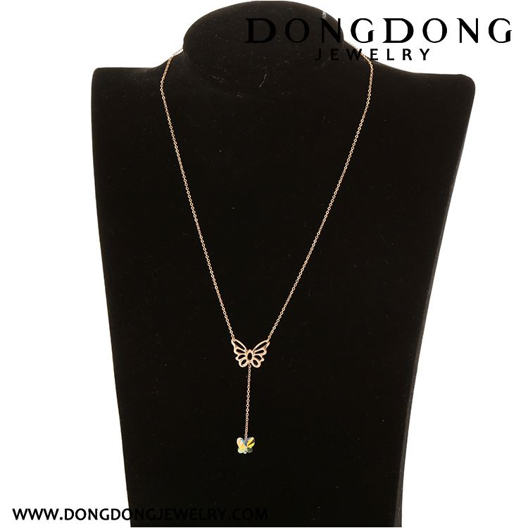 Hot sale simple design wholesale flash rose gold stainless steel necklace
