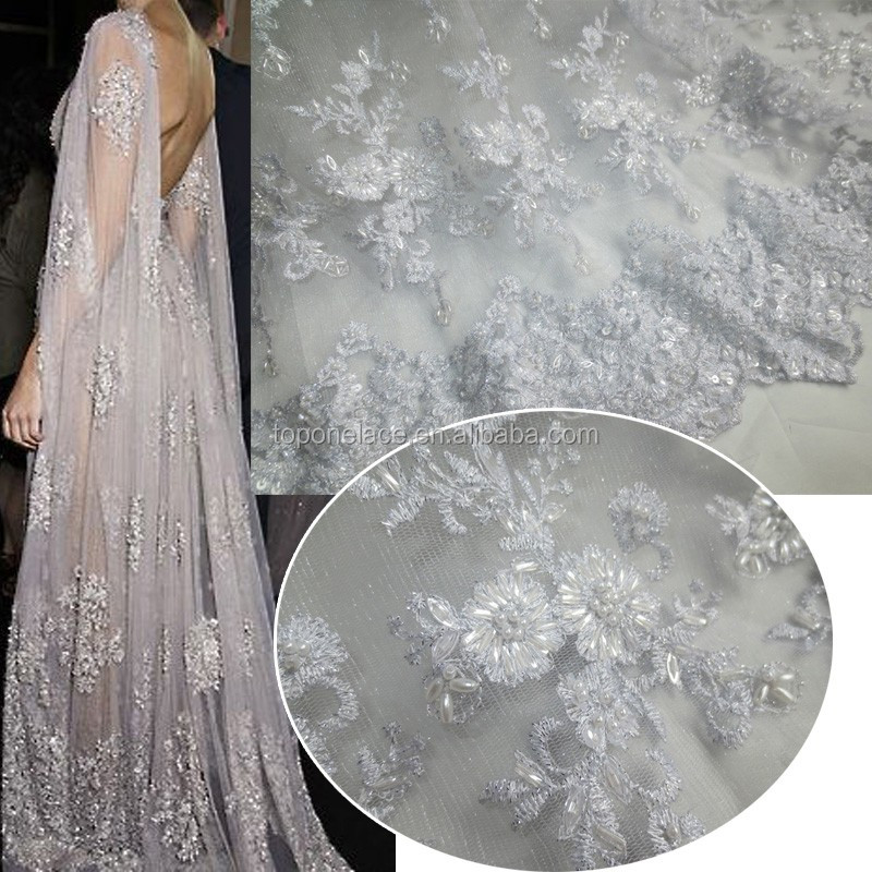 2016 New Arrival Europe beaded French Lace Fabric Handwork Bridal ...