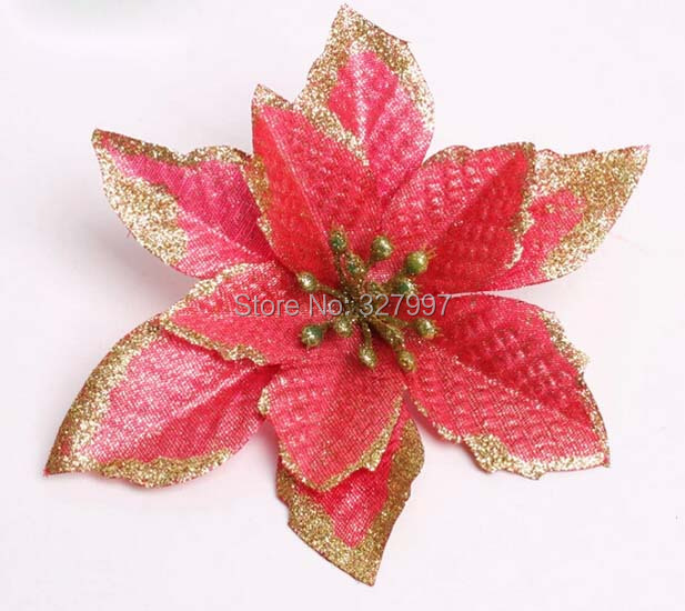 14 CM Artificial Christmas flowers poinsettia flower pendant tree ornament home decor noel fairy garden accessories CF8008