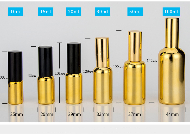 JY-10 30ml 1OZ Shiny Essential Oil Glass Bottles Perfume Glass Containers Gold Plating Spray Glass Bottles for Sale