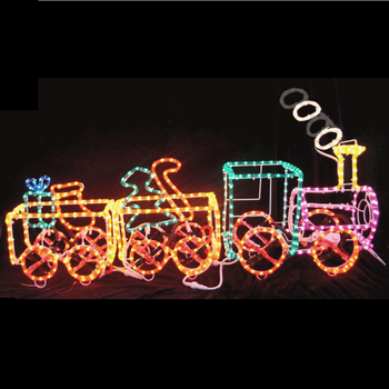 3D Outdoor Lighted Metal Rope Light Christmas Decoration of Train - 3d Outdoor Lighted Metal Rope Light Christmas Decoration Of Train