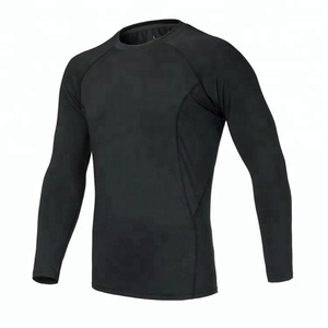 Wholesale custom outdoor gym pullover compression running thermal wicking men fitness wear tops
