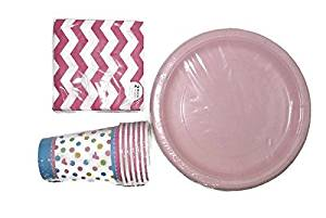 Pink Polka Dot Baby Shower Tableware Bundle: Six Pastel Polka Dot Paper Cups, Sixteen Pink Polka Dot and Chevron Patterned Beverage Napkins and Sixteen Pastel Pink Paper Plates