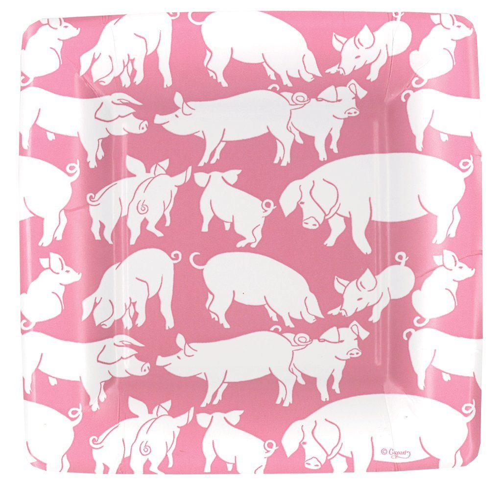 Entertaining with Caspari Oink Paper Square Salad/Dessert Plates, Pink, Pack of 8