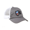 Distressed Grey 100 Cotton Unstructured Embroidered Mesh Baseball Cap Custom