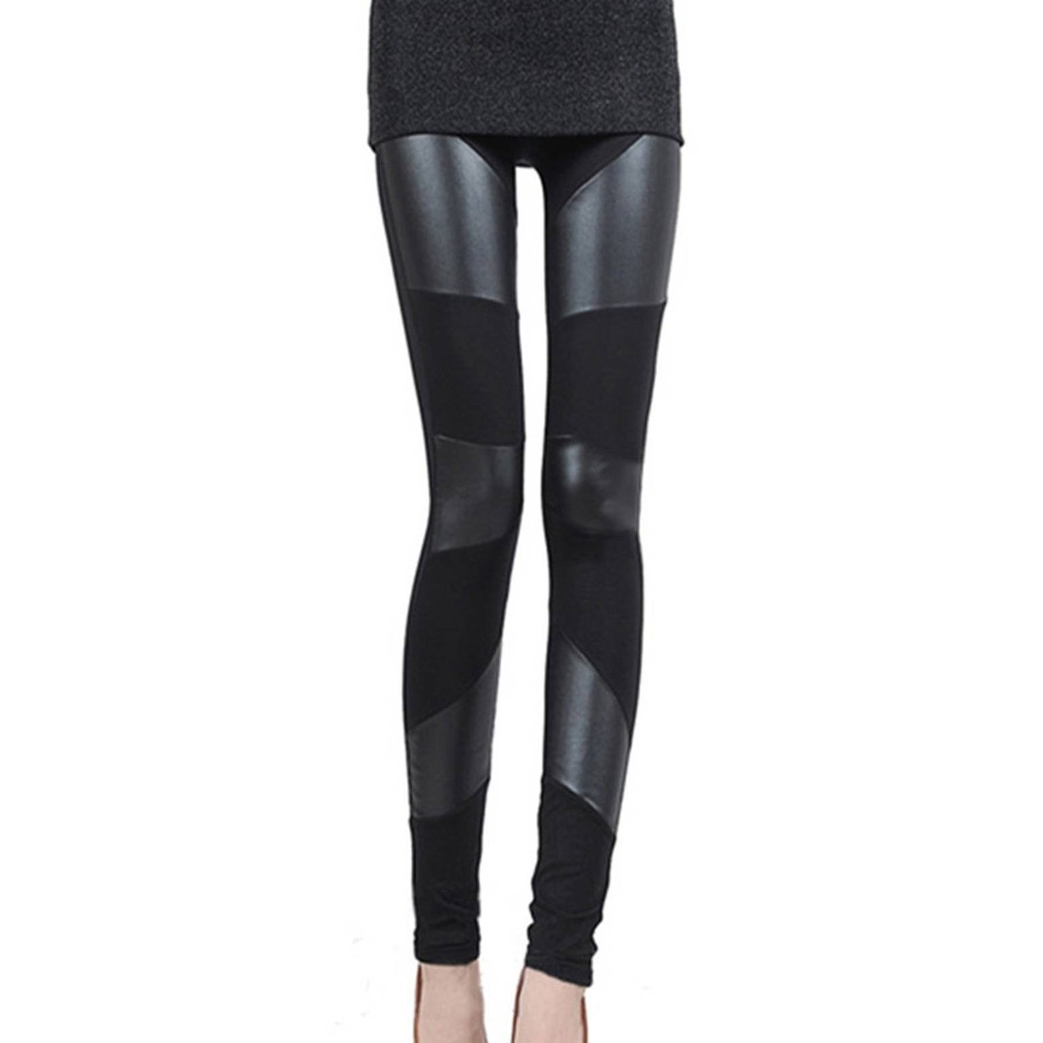 12b36b7b9ab47e Get Quotations · Women Leather Legging - TOOGOO (R) The First Three Ladies  Paragraphs Leather Seams Leggings