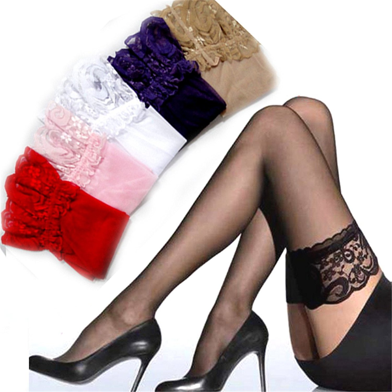 58c6b2d16 Get Quotations · TBWIGA Sexy Women color Tights Summer Stockings Lace nylon  Top Thigh High Ultra Sheer Knee High