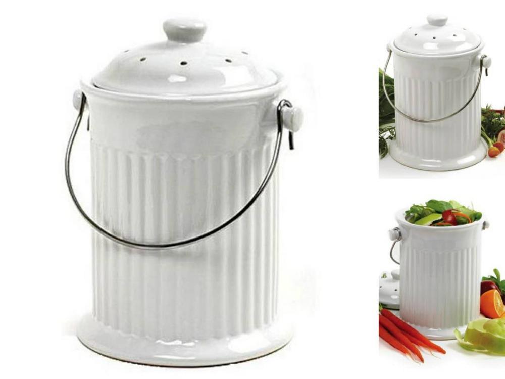 0,8 3q Gallonen Keramik Kompost Keeper Kompost Bin Kompost Eimer ...