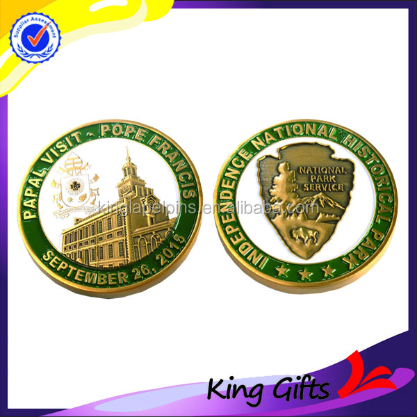 3D Die struck/stamp anti gold plated challenge coins with building logo for souvenir