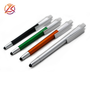 Custom logo advertising LED light stylus UV wide clip ballpoint pen
