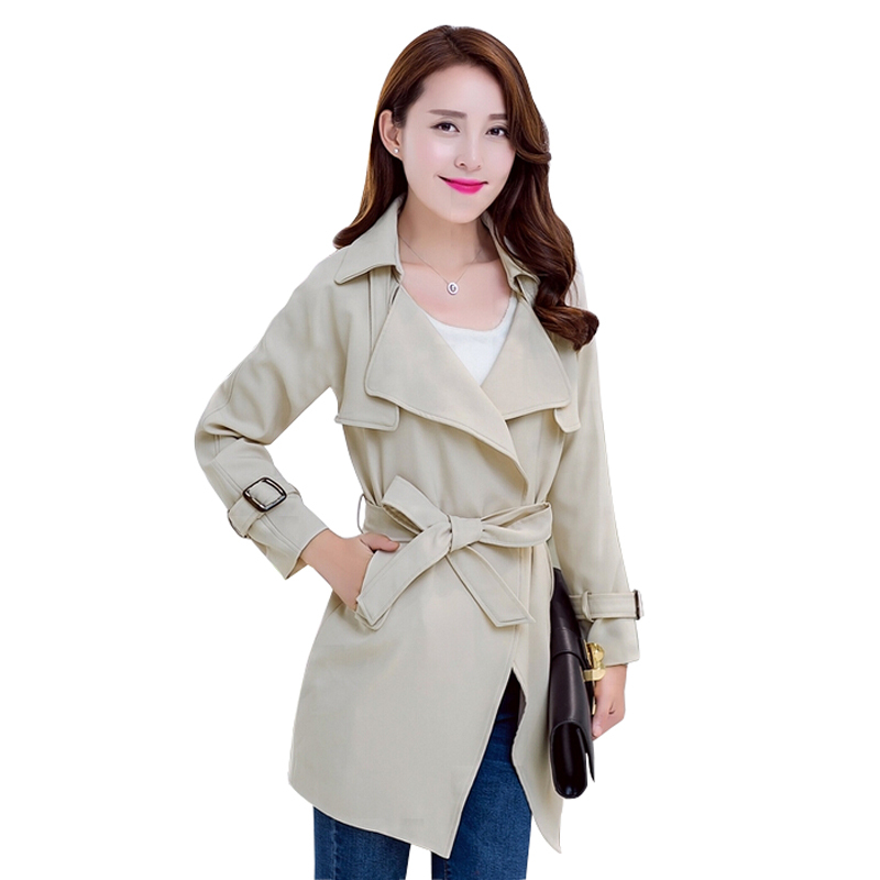f7507c952b682 Get Quotations · 2015 Autumn Trench Coat Women Slim Women Coat Sashes  Windbreaker Irregular Casaco Feminino Plus Size Thin