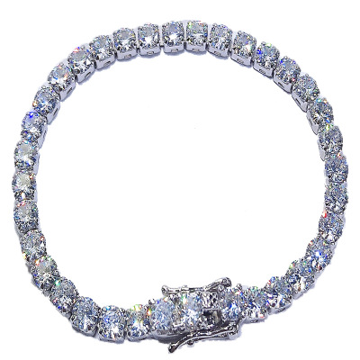 925 Silver HipHop Bling Iced Out <strong>CZ</strong> Link Chain Diamond <strong>Tennis</strong> Cuff <strong>Bracelet</strong>