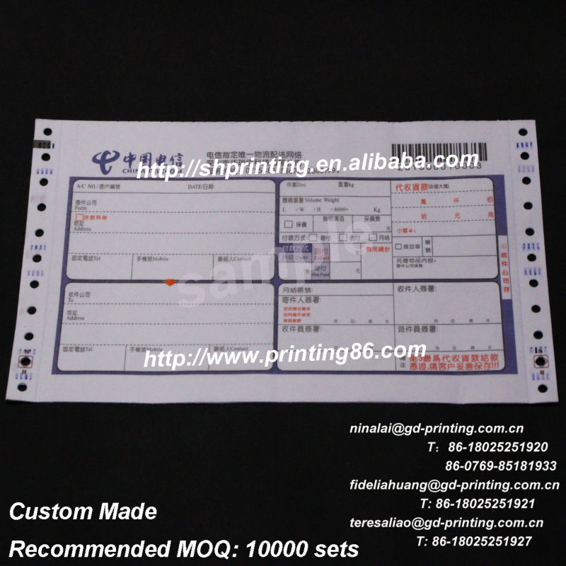 Personaized truck consignment note printing