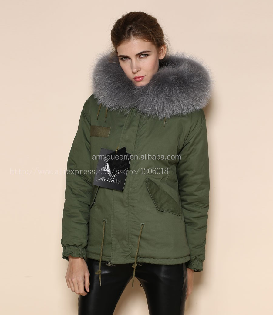 2017 Luxury Womens Army Green Grey Faux Fur Coat,Factory Thick Fur ...