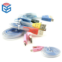 Smile face usb led mobile phone visible flashing cable usb led light v8 micro universal
