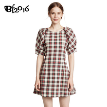 Vrouwen Vintage Kleding Plaid Print <span class=keywords><strong>Bladerdeeg</strong></span> Mouw <span class=keywords><strong>Korte</strong></span> Jurk