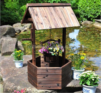 Brown Wood Flower Planter Wishing Well Yard Lawn Garden Decor