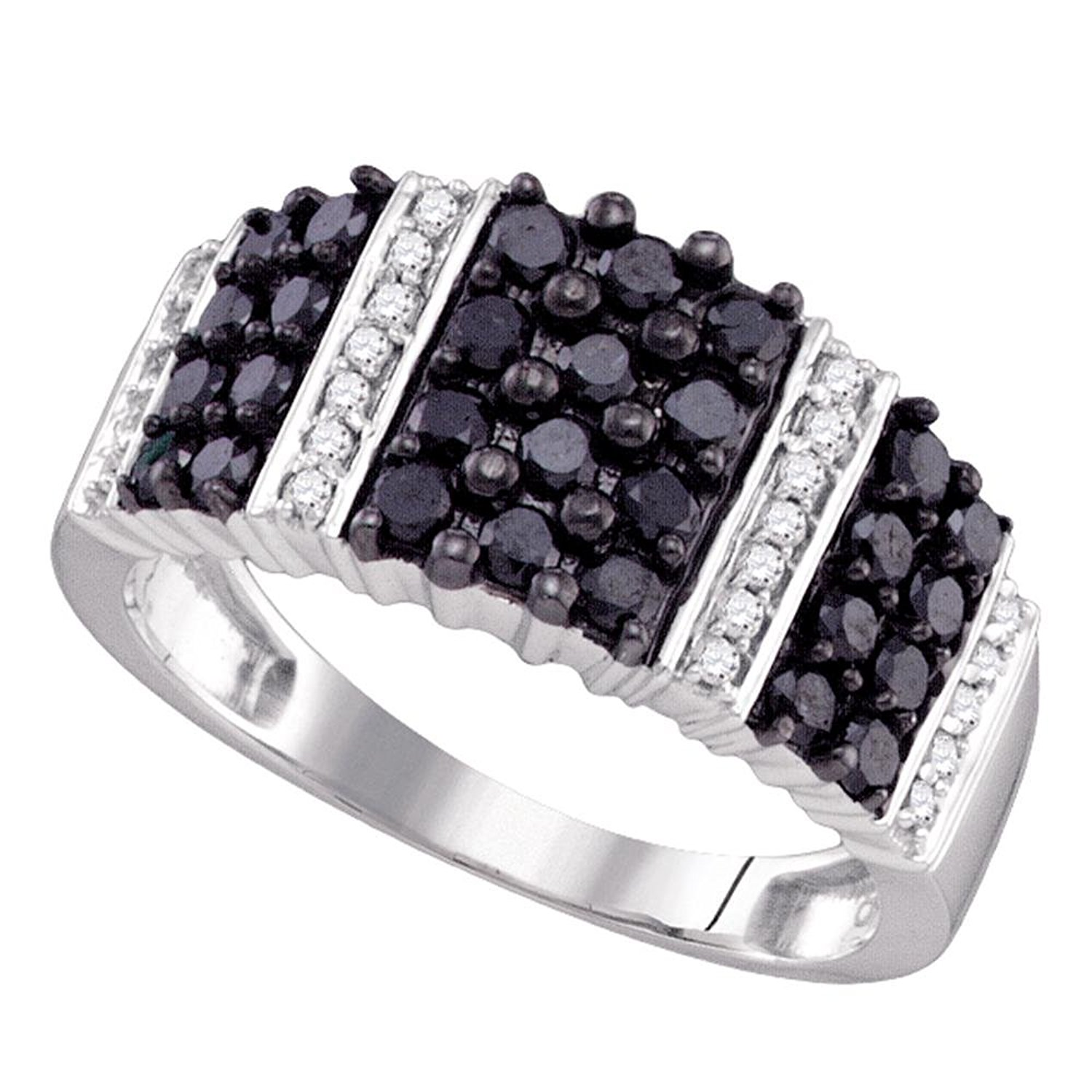 0f78495a Get Quotations · 10k White Gold Black Colored Pave-set Diamond Womens  Unique Striped Cocktail Band (.