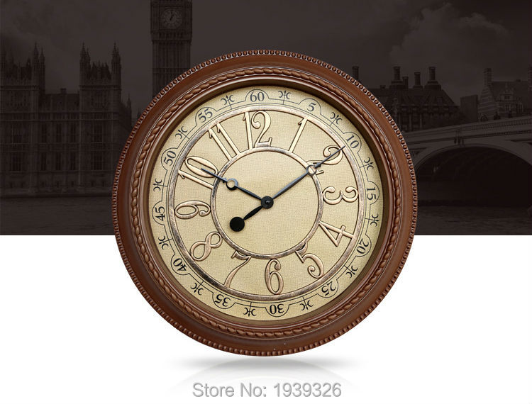 Europe Stylish Retro Mute Digital Watch , Rustic Shabby Chic Vintage Clock  Home/Office/Cafe Bar Decoration Art Large Wall Clock