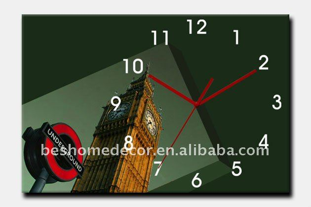 beauty london building canvas oil painting wall clock wood wall clock