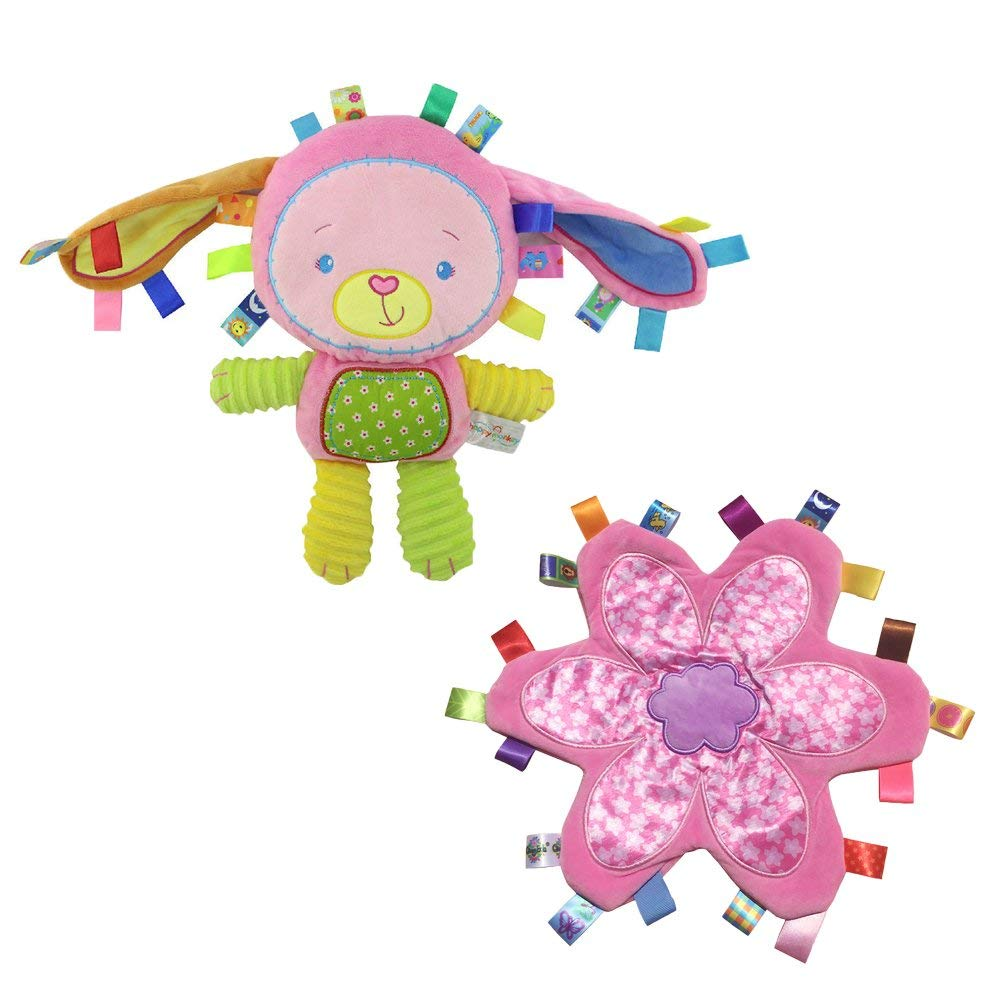 INCHANT Lovey Baby Bunny Rabbiet Security Blanket Toy with Plush Taggies security blanket Pink Flower